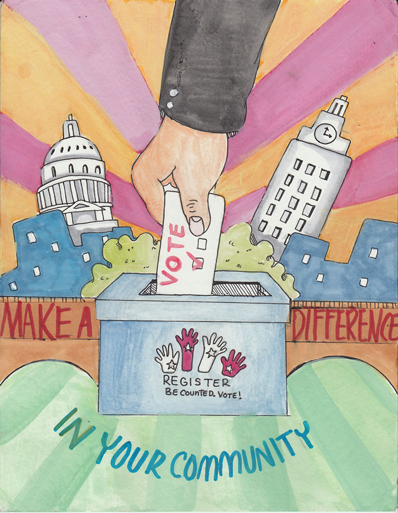 voter casting ballot with capitol and UT tower in the background by honorable mention Chloe L. McCallum High School
