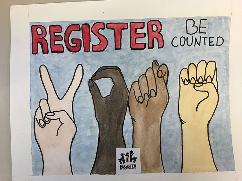 vote spelled in sign language by honorable mention Bailey P. Bowie High School