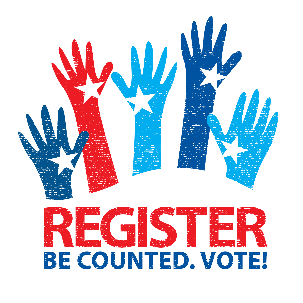 register, be counted, vote logo